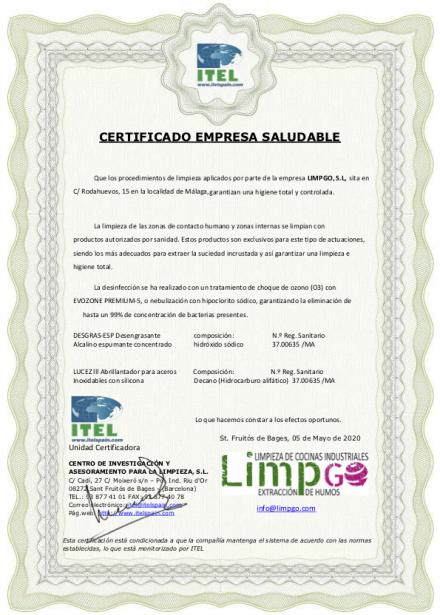 Certificado limpieza de extraccion de humos